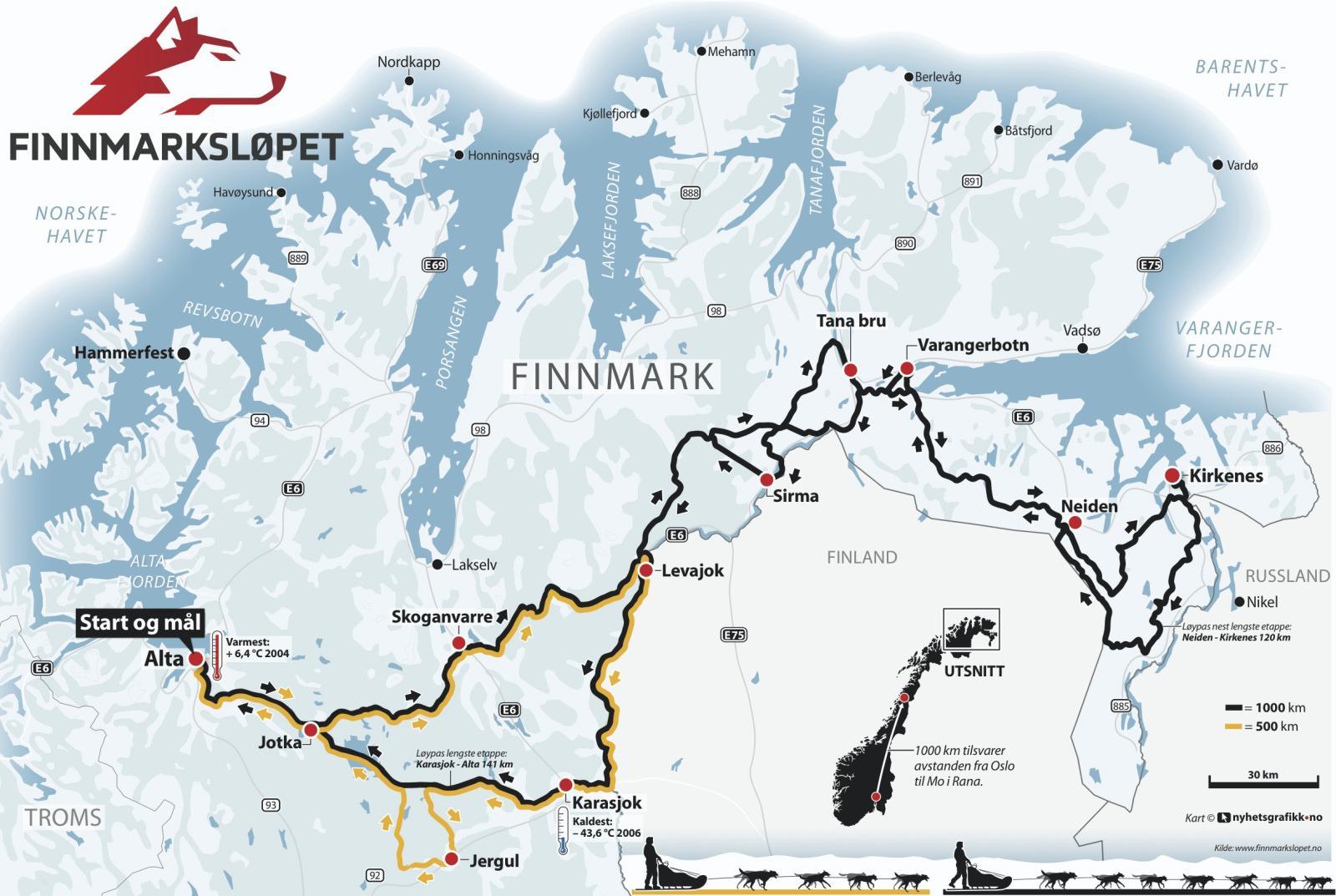 kart over altaelva Finnmarksløpet: Slik er etappen! kart over altaelva
